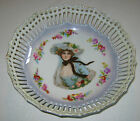 German Porcelain Bowl Reticulated with Victorian Lady and Flowers
