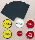 PRO POKER 4 DIFFERENT BUTTONS SET + 5 BLACK CUT CARDS CASINO STYLE FREE S H