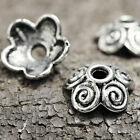100pcs Antique Silver Bead Caps Flowers Jeweley Making DIY 10x10x4mm