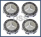 Genuine Mercedes Benz BLACK Laurel Wreath Wheel Insert Cap Center Set of 4