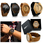 Luxury Mens Womens Bamboo Wood Watch Quartz Leather Wristwatches Fashion w Box