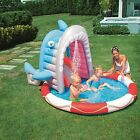 Inflatable Swimming Pool Blow Up Play Shark Sprayer Sprinkler Baby Toddler Kids