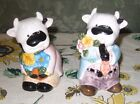 Ceramic Holstein Cows His and Her Dressed Up Couple SALT  PEPPER SHAKERS 4