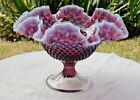 Vintage Fenton Art Glass Plum Opalescent Hobnail Pedestal Footed Bowl Compote