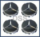Genuine Mercedes Benz Black w Chrome Center Insert Cap Wheel Set x4 66470200