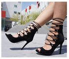 BLACK LACE UP SUEDE HIGH HEELS STILETTO FASHION SINGLE SOLE NEW HOT