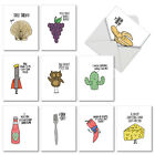 M2975OCB Fun Puns 10 Assorted Blank All Occasion Note Cards Matching Envelopes