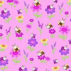 Fabric Bees Bugs  Flowers on Pink Flannel 1 Yard S