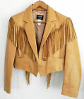 New Arella Western Fringed Soft Leather Jacket Size M/L Double Metal Stars