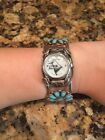 VINTAGE SELECTIME DUBOIS EAGLE HGY SIGNED NAVAJO HANDMADE STERLING WATCH CUFF