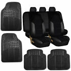 Car Seat Covers Set for Auto w/Floor Mat Black
