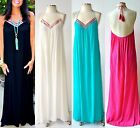 Malibu Beach Embroidered Halter Flowy Maxi Dress IVORY BLACK PINK TURQUOISE S XL