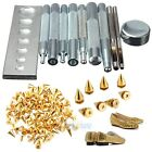 11Pcs Craft Tool Die Punch Snap Rivet Setter Base Kit+100x1cm Cone Shaped Spikes