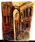 BEAUTIFUL VINTAGE ESTATE SIGNED VENICE ITALY CANAL ART WATERCOLOR PAINTING