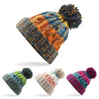 NEW CABLE KNITTED BOBBLE HAT PLAIN MENS WOMENS BEANIE WARM WINTER POM WOOLY CAP