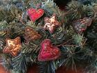 6 Piece 25 Hand Embroidered Fabric Christmas Heart Ornaments