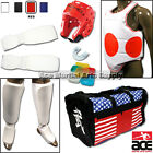 COMPLETE Karate Cloth Sparring Gear Fist Shin Chest Set w/ WHITE Headgear + Bag