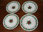 4 Dinner Plates W/ Gold Edge By Gibson Housewares In The Christmas Charm Pattern