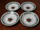 4 Soup/Salad Bowls W/ Gold Edge By Gibson Housewares Christmas Charm Pattern