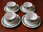 4 Cups & 4 Saucers W/ Gold Edge By Gibson Housewares Christmas Charm Pattern