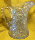 Vtg 85 American Brilliant CUT GLASS PITCHER Notched Handle Sawtooth Pinwheel