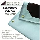 18 Ft. X 24 Ft. Super Heavy Duty Tarp - 16mil Thick - White / Brown Reversible