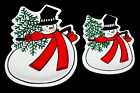 FITZ & FLOYD Set 2 Snowman Celebrate Christmas Holiday Serving Plates Dishes
