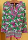 NWT Crown  Ivy BEACH BLOSSOMS CRABS Pink Green Tunic Top Shirt Medium Cruise