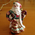 Fitz and Floyd Christmas Wreath Santa Ornament Collectible 2001 In Box