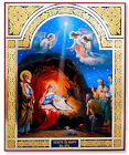Large Christmas Icon Beautiful Nativity Icon from Russia Framed Under Glass