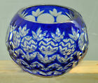 Cobalt Blue Cut to Clear rose bowl / small vase Mint