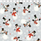 Snowmen Grey - Frosty Fun By Sue Zipkin for Clothworks Fabrics HALF YARD