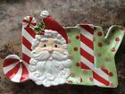 Fitz And Floyd Ceramic JOLLY SANTA Snack Therapy Elongated Tray NEW in Box