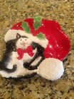 Fitz And Floyd Christmas Canape Plate Kitty Claus