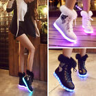 Xmas Womens Winter Warm Fur Leather Ankle Snow Boots LED Light Shoes Fashion