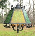 Large Vintage Spanish Gothic Stained Glass Chandelier Hanging Light