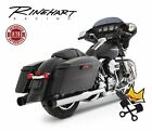 RINEHART 4 XTREME TRUE DUAL EXHAUST CHROME W BLK TIPS HARLEY 2009 UP TOURING