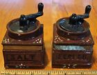 Vintage Coffee Grinder Mill Salt and Pepper Shakers, Ceramic