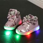 Very Cute Baby Toddler Kids Kitty LED Baby Girl Shoes Light Sneakers Size 21 31