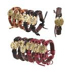Unisex Fashion Round Alloy Constellations Leather 12 Zodiac Bracelet Bangle P5D7