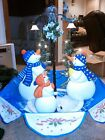 Singing Snowman Family Christmas Tree Decoration w LED Lights Decor 55 FT