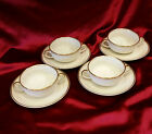 Set of 4 Fitz & Floyd Palais Buff Cream Soup Bowl & Saucer - MINT CONDITION!