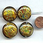 6 VINTAGE GLASS LAMPWORK TOPAZ SILVER LINED MULTI COLOR 24mm SAUCER BEADS H179