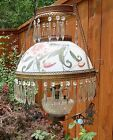 Antique Victorian Hanging  Ceiling Light / Lamp w/ Glass Shade and Prisms