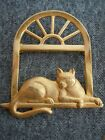 Vintage JJ Gold Tone Cat Laying on Window Sill Pin