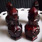 Vintage Sandwich Glass  Red Salt and Pepper Shakers 2 sets
