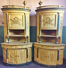 PAIR Palatial Antique 19th C Italian French CARVED Painted CORNER CABINETS