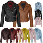 Womens Faux Leather Zip Up Everyday Bomber Jacket With Patch SML