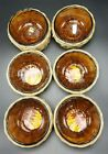 Rare Vintage Anchor Hocking Fire King Amber Custard Cups Set of 6 With Baskets