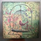 Bird Cage And Florals Wrapped Canvas Art Print by Kate McRostie Signed 24x24